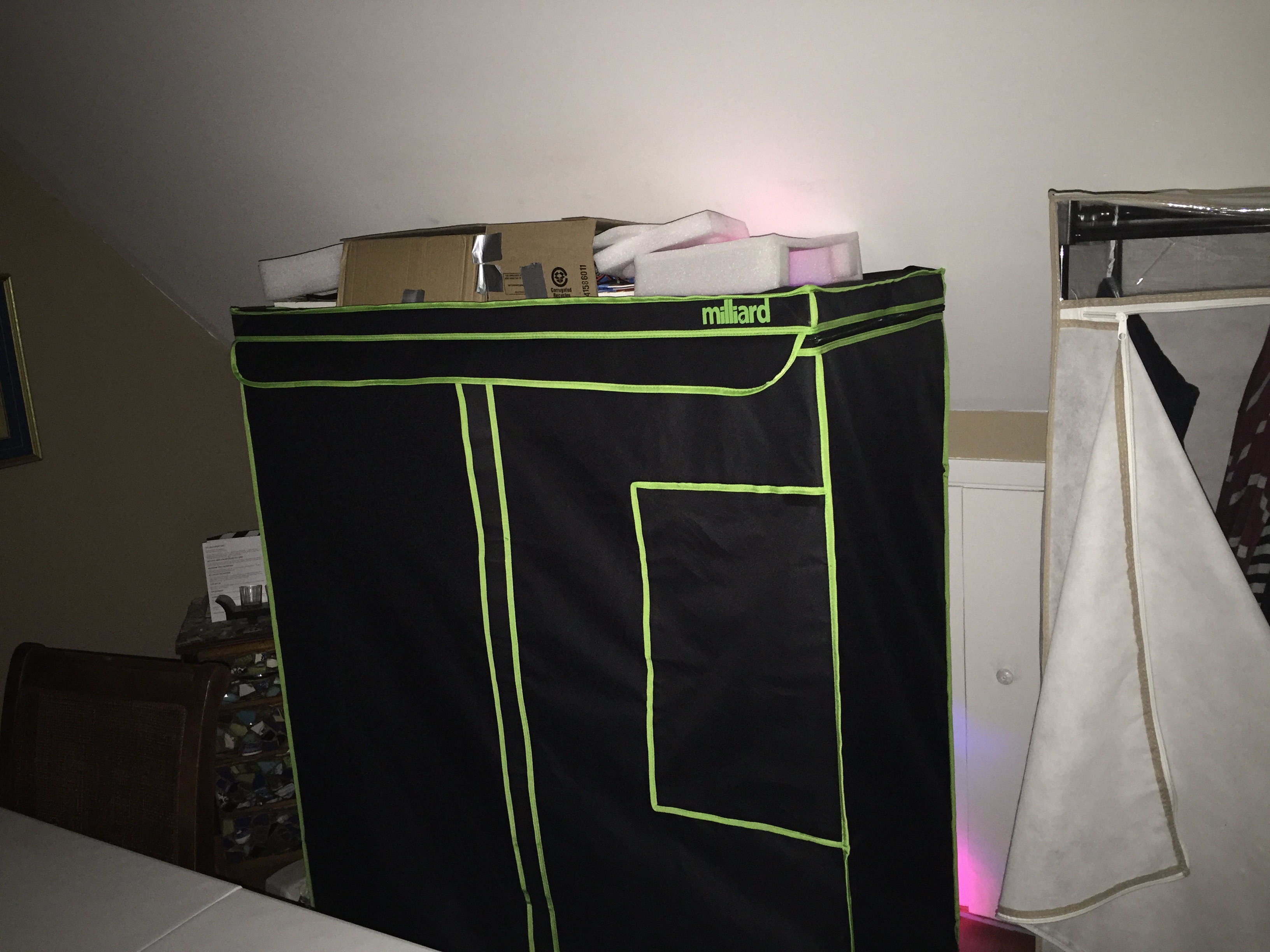 Covered the top with foam and put the wires in a card board box to make it look neater.
